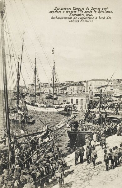 Island of Samos - Turkish troops called to evacuate island after the Revolution of September 1912 - the infantry is seen boarding Samos sailing vessels