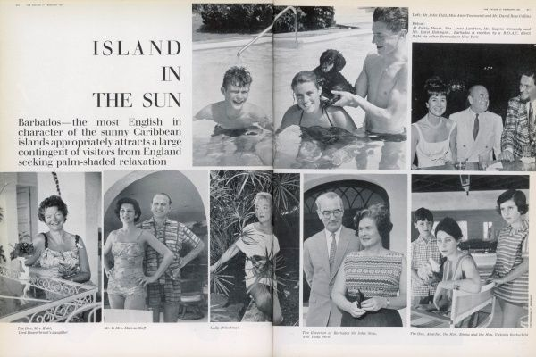 Barbados- the most English in character of the sunny Caribbean islands appropriately attracts a large contingent of visitors from England seeking palm-shaded relaxation. Among them are The Hon. Mrs Kidd (daughter of Lord Beaverbrook), the Governor of Barbados