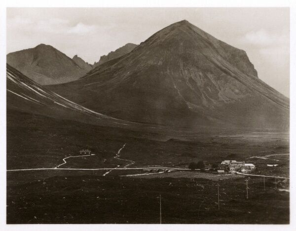 Marsco - one of the Red Hills (Red Cuillin) on the Isle of Skye, from above Sligachan Hotel. Date: circa 1920s