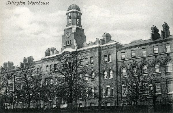 The Islington parish workhouse was opened in 1870 on St John's Road in Islington, North London. Designed by RH Burden, it could house more than 1000 inmates. It was later known as Hillside. This view shows the main building, three storeys high