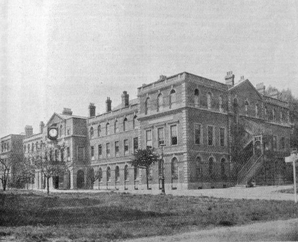The parish of Islington's new 800-bed poor law infirmary on Highgate Hill was opened in 1900 on the site of the Highgate Smallpox and Vaccination Hospital. The main building of the old hospital shown here became a nurses' home. Date: 1905