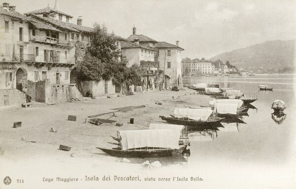 Houses on Pescatori Island ('Island of the Fishermen') on Lake Maggiore, Italy and a view toward the Isola Bella (named for Isabella, Countess Borromeo)
