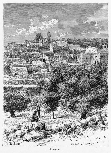 Distant view of the town, located at the foot of the Mount of Olives