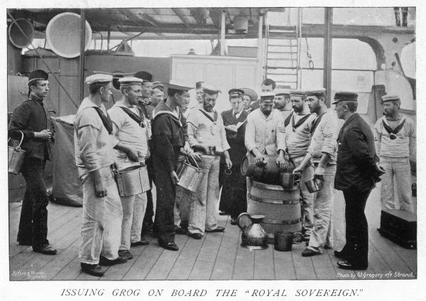 On deck on the 'Royal Sovereign' ship: sailors are issued with grog, a mixture of rum and water