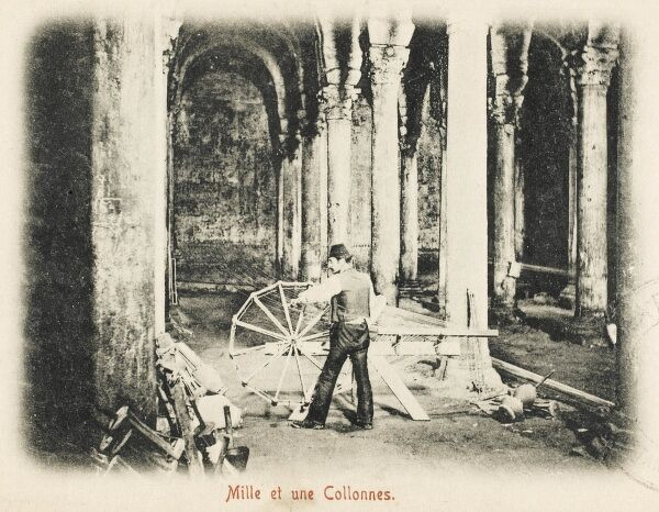 Repairs at the massive columned Cistern (known as the Basilica Cistern during the Roman Period). Thought to have been built during the reign of Justinian I, the age of Glory of Eastern Rome, also called the Byzantine Empire (after the Nika Revolt in 532 AD)