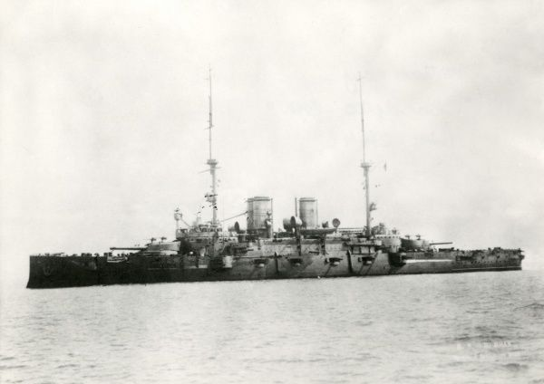 The Italian battleship Benedetto Brin, a Regina Margherita class ship, designed by the naval administrator and politician of the same name