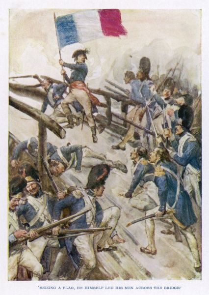 ITALIAN CAMPAIGN Marching on Milan, Napoleon successfully leads the French army across the bridge of Lodi, defeating the Austrians, but with heavy losses of life. Date: 10 May 1796