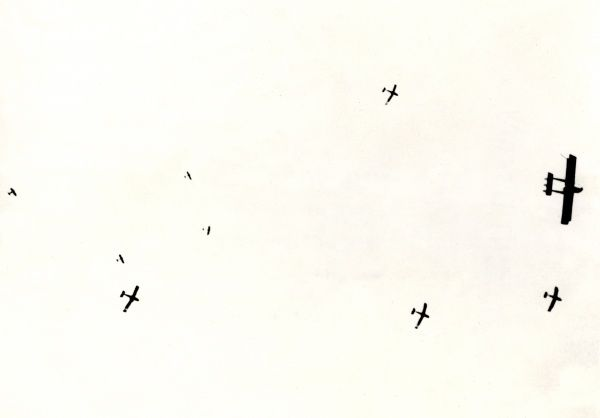 Italian Caproni and Fiat Idro Macchi aeroplanes flying high up in the air during the First World War. Date: 1915-1918