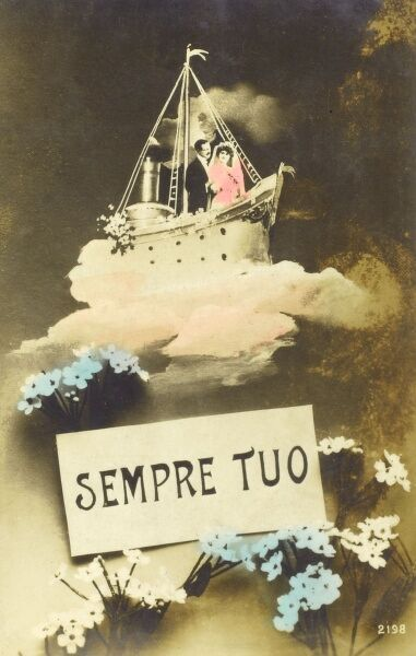 'Forever Yours' - Italian Kitch Postcard. A couple take a loveboat through the clouds, heading off on life's journey together.... Date: 1918