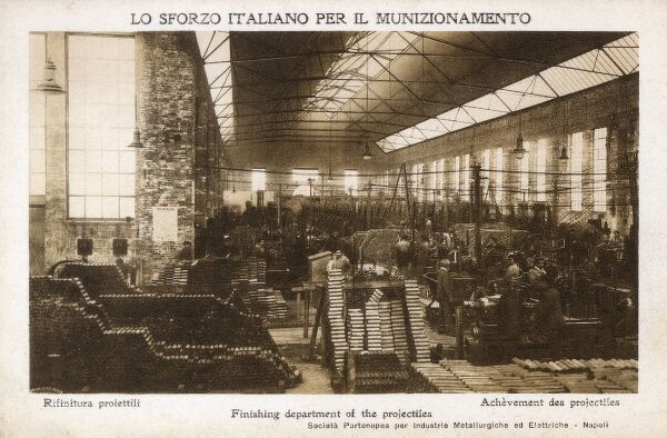 Finishing Shop for an Italian Munitions Factory - Naples, Italy. Date: circa 1915