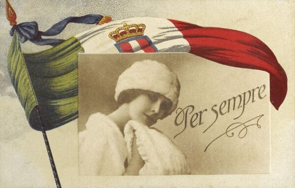 Italian Patriotic Card - 'Forever' - A pretty young girl surrounded by the Italian national flag Date: circa 1910s