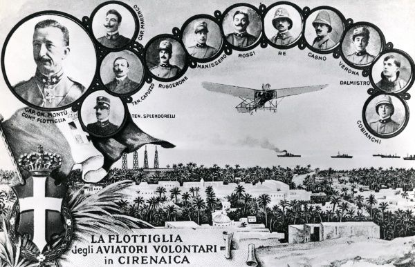 Portraits of the first Italian pilots who took part in the Italo-Turkish War (1912-1913) in Cyrenaica, Libya. This war was the first in history which involved air attacks by aircraft. Date: 1912-1913
