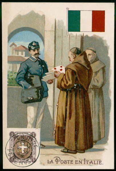 Am Italian postman delivers letters to a monastery