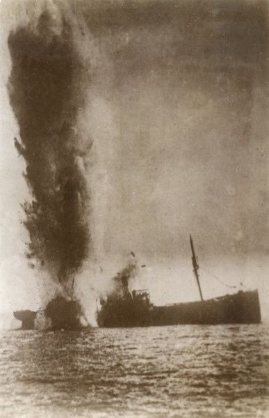 An Italian steamer torpedoed by a German U-boat during the First World War. Date: 1915-1918