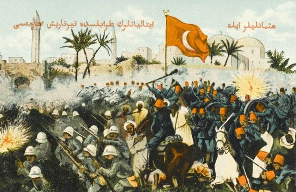 Fighting before the walls of Tripoli. The Italo Turkish War was launched by Italy against Turkey, with the aim of gaining Libya, in order to counterbalance French conquests in North Africa