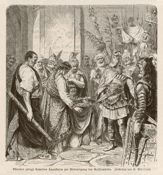 Romalus Augustus is forced to abdicate by Odoacer