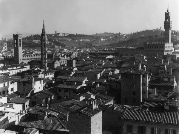The skyline of the city of Florence, Italy. Date: 1930s