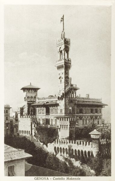 Genoa, Italy - Mackenzie's Castle. This castle was built by the Florentine architect G. Coppode' between 1896 and 1904 for the Scottish insurance broker E. Mackenzie. Date: circa 1920s