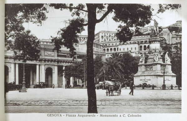 Italy, Genoa - Piazza Acquaverde - Monument to Christopher Columbus Date: circa 1920s