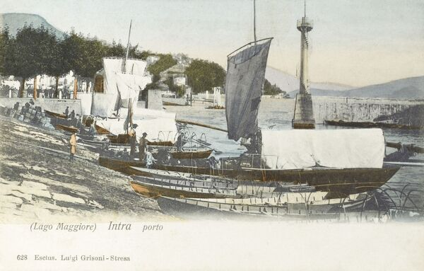 Italy - Lake Maggiore - Intra - The Port with moored fishing boats Date: circa 1905