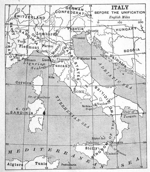 A map of Italy prior to unification