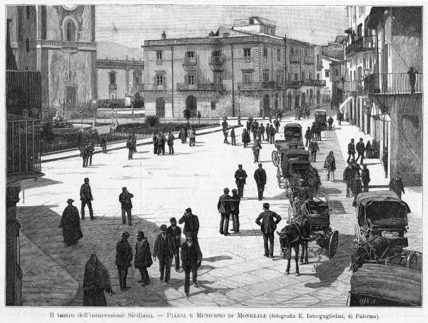 Piazza e municipio at Monreale, at the time of the 1894 insurrection