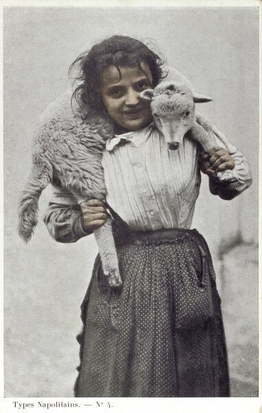 Italy - a happy young Naples country girl with a lamb across her shoulders Date: circa 1905