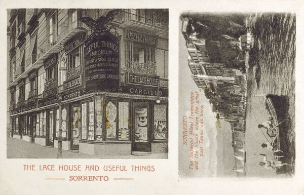 Italy - Sorrento - 'The Lace House and Useful Things Emporium' - also includes a inset photograph of the Imperial Hotel Tramontano and the House where the great poet Tasso was born. Date: circa 1910