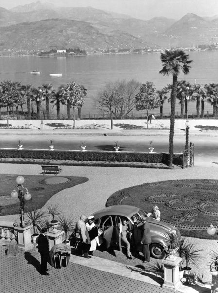 The lovely view from the terrace of the Regina Palace Hotel, overlooking Lake Maggiore, Stresa, Italy. Date: 1930s
