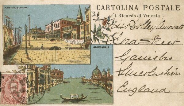 An extremely early picture postcard (and in colour!) of Venice, Italy from 1890 Date: 1890
