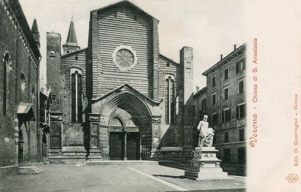 Church of St Anastasia (built between 1280 and 1400), Verona, Italy, with a Statue of Paolo Veronese (1528 - 1588) (now relocated)