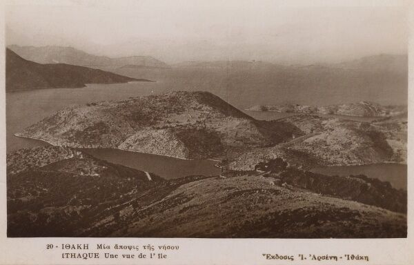 An aerial view of the Island of Ithaca, Greece Date: circa 1910