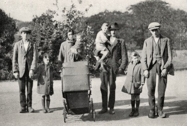 An itinerant family - two parents and six children, plus a pram - who, for reasons unknown, are on the road. With little or no money they might have to spend each night in a workhouse casual ward alongside tramps and vagrants, or even sleep rough