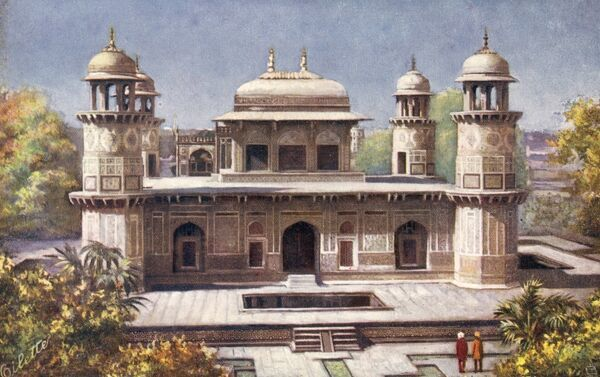 Itmad-ud-Daula's Tomb - Agra, India - known as the 'Baby Taj' or the 'Jewel Box' and seen as the practise template for Shah Jahan's magnificent Taj Mahal (which was built close by). Date: circa 1910s
