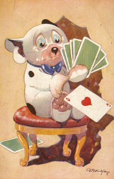 Comic colour illustration by George Ernest Studdy (1878-1948) showing his canine creation, Bonzo sitting holding some playing cards