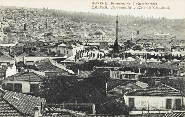 A general view over the rooftops at Izmir (Smyrna), Turkey. A card dating from the Greek occupation of Izmir, showing the 'Turkish Quarter' - quite a comment for a city on the Turkish mainland!