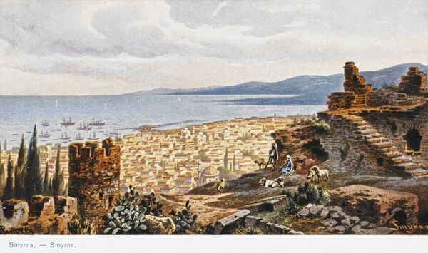A panoramic view looking over the rooftops of Izmir (Smyrna), Turkey from the ruined citadel