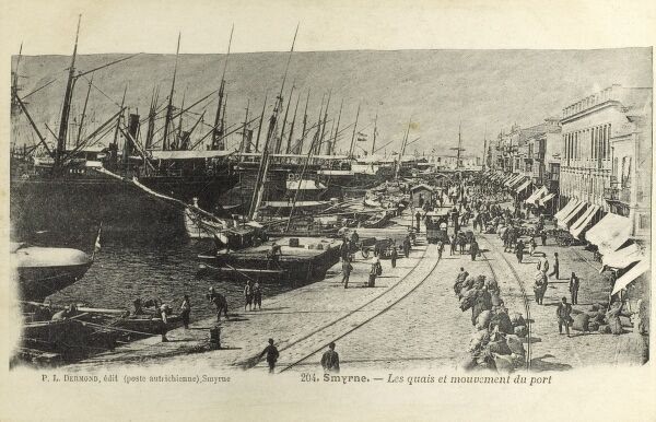 Busy activity at the port of Smyrne (Smyrna, modern Izmir), Turkey Date: 1905