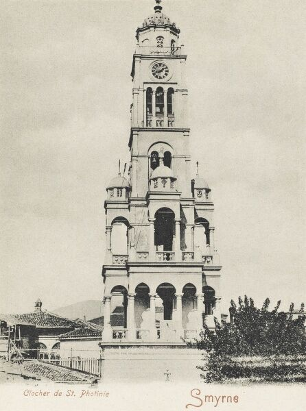 The clock tower of the church of St. Photinie at Izmir (Smyrna), Turkey