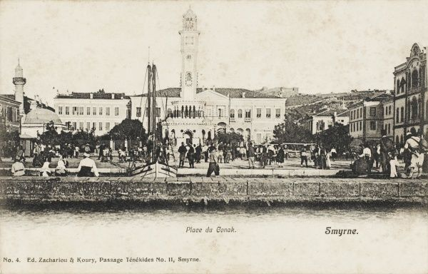 The view from the waterfront toward the Main Square and centre of the town of Izmir (Smyrna), Turkey with the Municipality at rear and mosque on the left