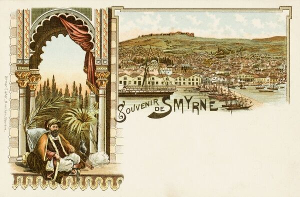 A Pasha in his Palace before an exotic garden, smoking a pipe and seated below a silk damask curtain with gold bullion fringe. Accompanied by a general view of the Quay, waterfront and shoreline of Izmir (Smyrne), Turkey with the citadel/fortress/castle