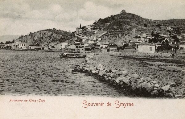 A Panoramic view of the Izmir district of Goztepe from the Sea. Date: circa 1905