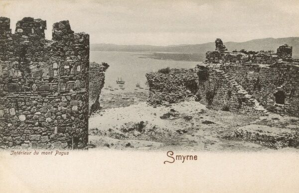 Izmir, Turkey - The Summit of Kadifekale, looking from the Castle ruins out ver the city toward the Sea. Date: circa 1905