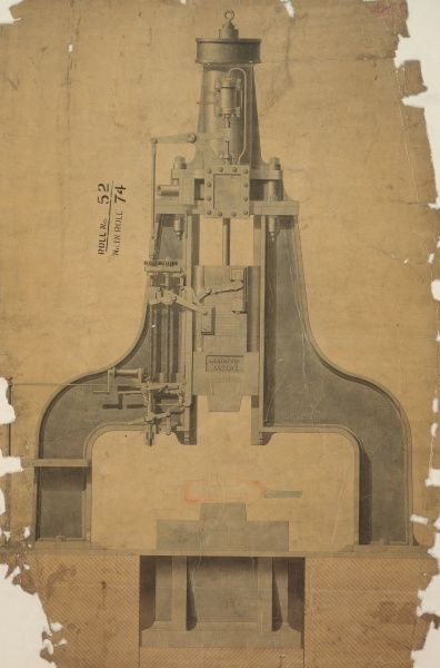 J Nasmyth's patent steam hammer, front elevation Date