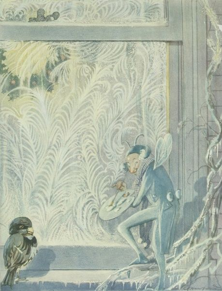 A small elf, possibly Jack Frost, paints an intricate pattern onto a cold window pane, using a friendly bird as artistic reference