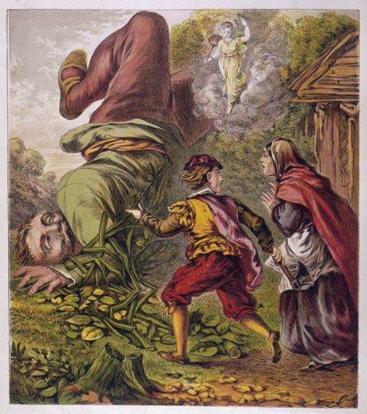 Jack fells the beanstalk, thereby causing the Giant to fall to his death, justifying Jack's reputation in the giant-killing business