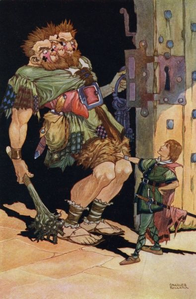 """Jack the Giant Killer by Charles Folkard. 'The giant roared out ""Who's there""'. A fairy tale by Charles Perrault&quot"
