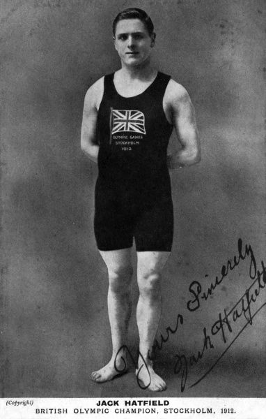 "Jack Hatfield (John Gatenby ""Jack"" Hatfield, 1893-1965), British Olympic swimming champion, seen here at the time of the Stockholm Olympics in 1912, where he won two Silver Medals and one Bronze in three freestyle events. He also played water polo"