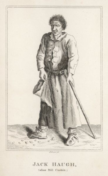 Jack Haugh also known as Mill Cushin was an Irish Beggar and character in Dublin. Blind in one eye & with a bottle nose & permanent grin he daily tried the generosity of Dubliners