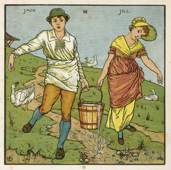 Here are Jack and Jill, depicted just a moment before the disastrous fall in which both of them tumble, requiring them to receive first aid of vinegar and brown paper